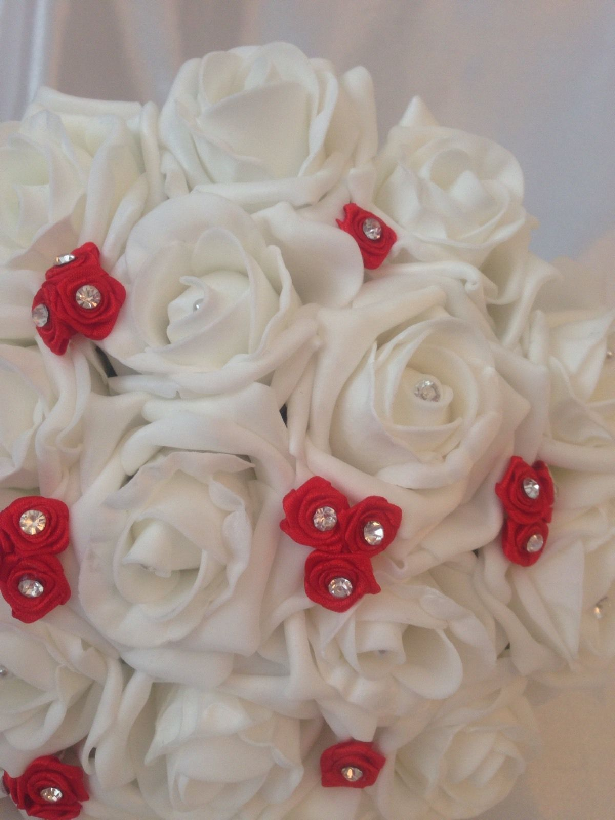 Artificial Wedding Flowers Red White Foam Rose Wedding Bridesmaid